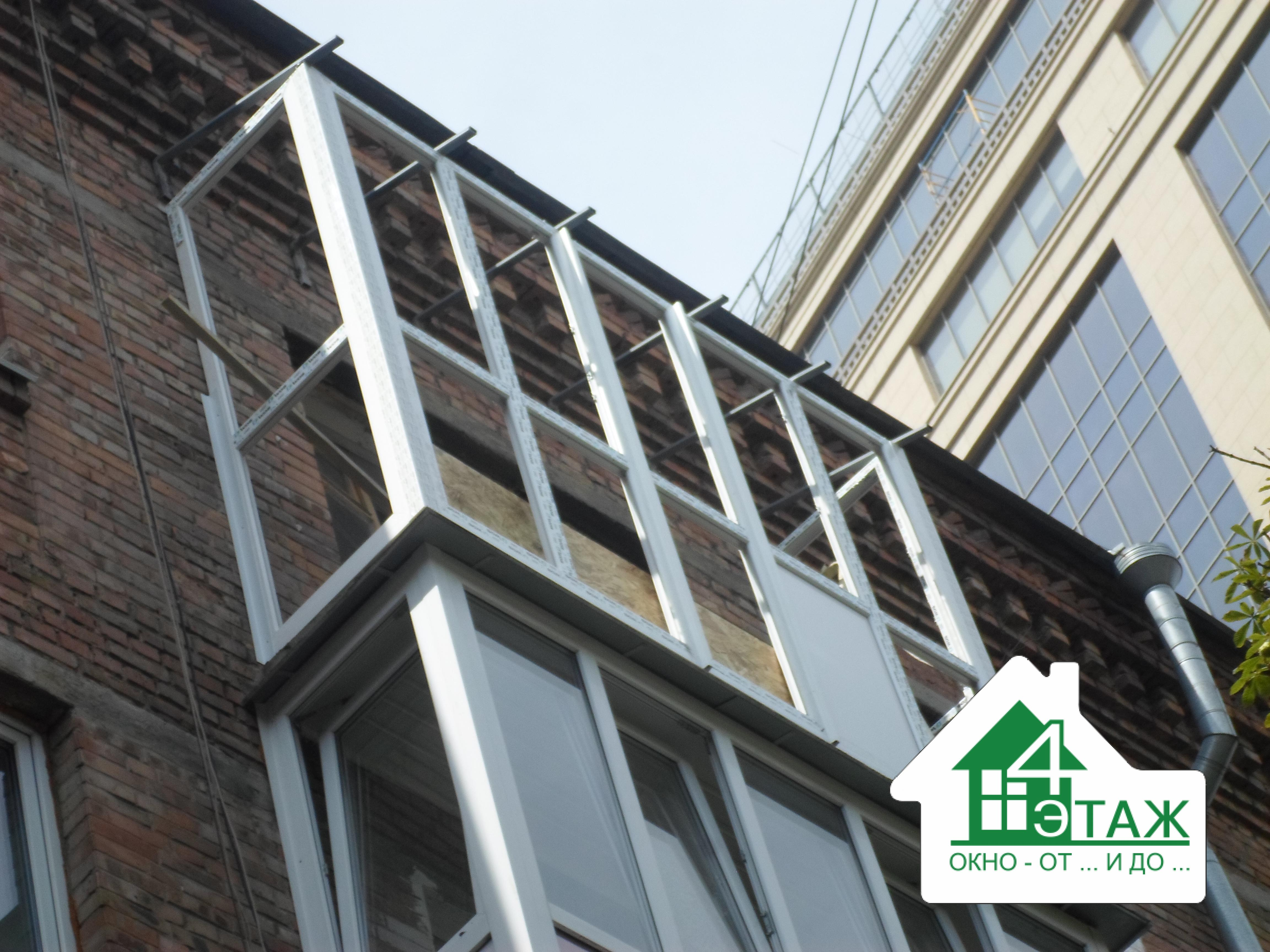 """Застеклить балкон в Хрущевке, монтаж компании """"4 Этаж"""""""